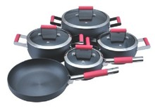 SA-12123 Hard Anodized cookware Silicon handle cookware cooking pot Hard Anodized Aluminum cookware Set Kitchenware