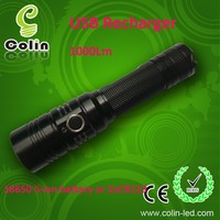 850Lm XML2-T6 LED mic USB recharge element 10 watt led flashlight with 18650 Rechargeable Lithium battery /2XCR123A