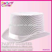 Pinstripe Top Hat White With Band