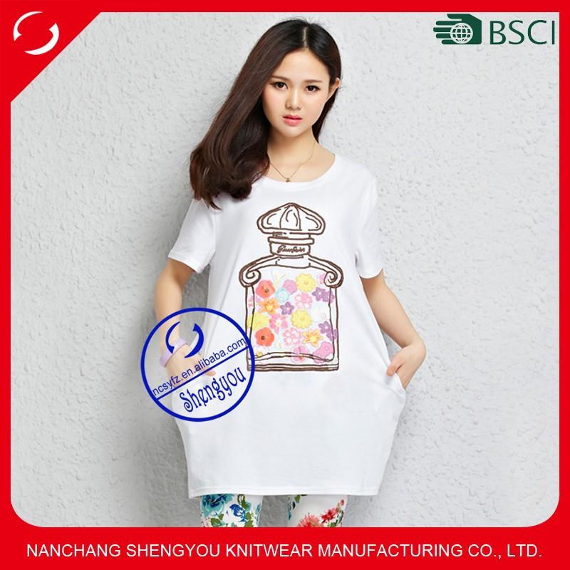 Custom wholesale womens printed pocket overszied longline Custom printed women s t shirts