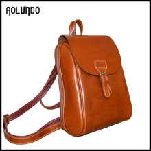 High quality women vintage leather backpack