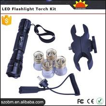 2015 Trade Assurance Supplier Hunting equipment DIY Red/Blue/Green/White Bulbs UltraFire WF-501B Hunting Torch Light Kit