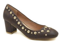 Italian latest new models wholesale china fancy nice leather office fashion high heel lady footwear rivet shoes 2015