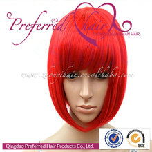 Cheap Prices 10'' Red Color Silky Straight Synthetic Cosplay Lace Front Wigs For Black Women Accept Paypal Payment