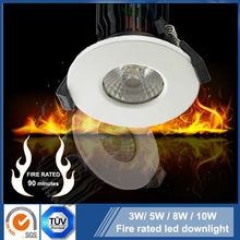 Fire rated 3W 5W 7W 10W Sharp /Bridgelux IP65 COB led downlight with Satin brushed stainless steel /Nickel/ Chrome finish