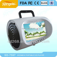 Best seller 7inch mini portable dvd player, portable boombox dvd for kids