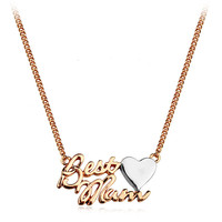 Famous design jewelry for mother's day 18kgp gold letter best mum with heart shape necklace