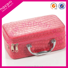 NOCONI fashion crocodile pattern leather makeup carrying case with mirror