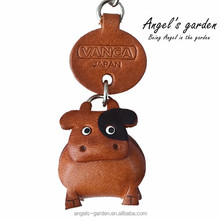 Japan 3D handmade genuine leather keychain small animal family AG15VAANMS