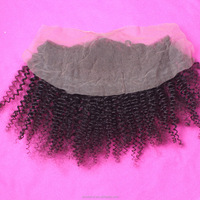 Full Frontal Malaysian Lace Closure, Virgin Malaysian Curly Hair Weave, Afro Kinky Human Hair Lace Frontal