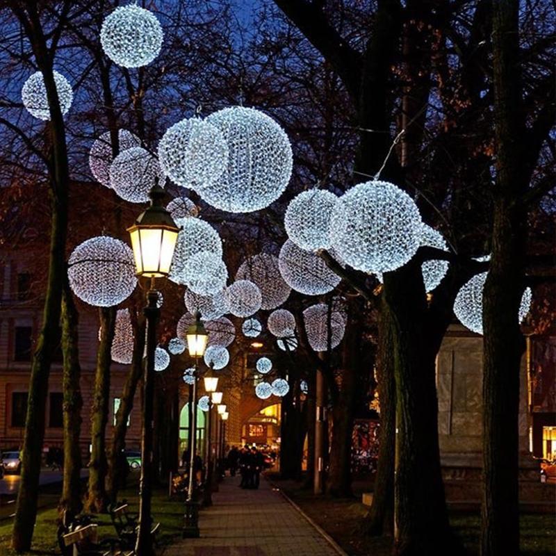 christmas tree sphere led christmas street lighted balls light