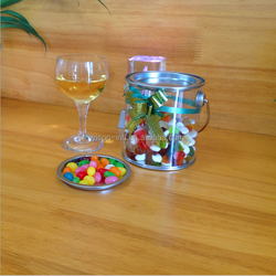 Wholesale candy PET plastic bucket with tinplate lid,Clear Pet Bucket for food,Pet Clear Paint Bucket Tin Cans