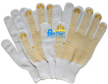 10 Guage Bleach T/C Abrasion Resistant Hand Gloves Yellow PVC Palm Dots