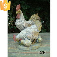 Fiberglass familly chicken garden decoration chicken