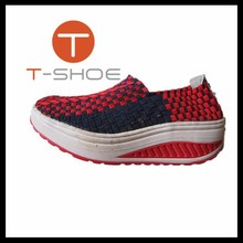 2015 trendy woven elastic comforable casual shoes sport shoes