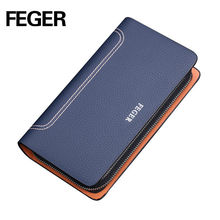 China Supplier Wholesale Colorful Quanlity Cow Leather Men's Clutch Bags