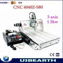Hight quality !CNC 6040Z-S80 with 1.5KW VFD spindle for hard material drilling,engraving machine with DSP 0501 controller