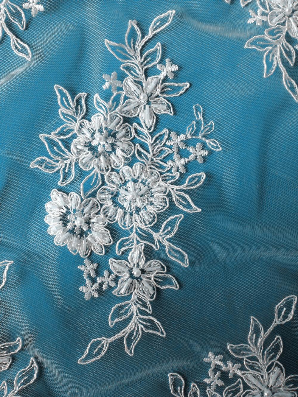 fina tela del bordado de lentejuelas de novia de encaje de tela para ...
