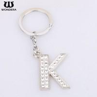 Promotional Gift Keyring Design Rhinestone Metal K DIY Letter Keychain