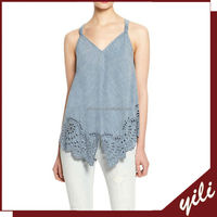 2016 New design spaghetti strap sleeveless ladies jean tops design