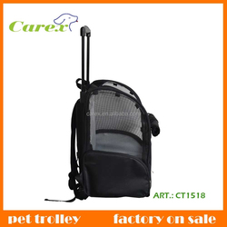 Black Convenient Fold And Carry Trolley Pet Bag