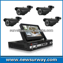 All in one hd h.264 4ch AHD dvr kit cctv camera security with 7 inch TFT LCD Monitor