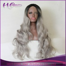 2015 Excellent quality top quality human hair lace wig 100% gray hair full lace wig