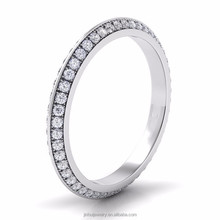 2.7mm Solid 18K White Gold H/SI Natural Diamond Pave Propose Wedding Engagement Ring For Wife Womens Girlfriend