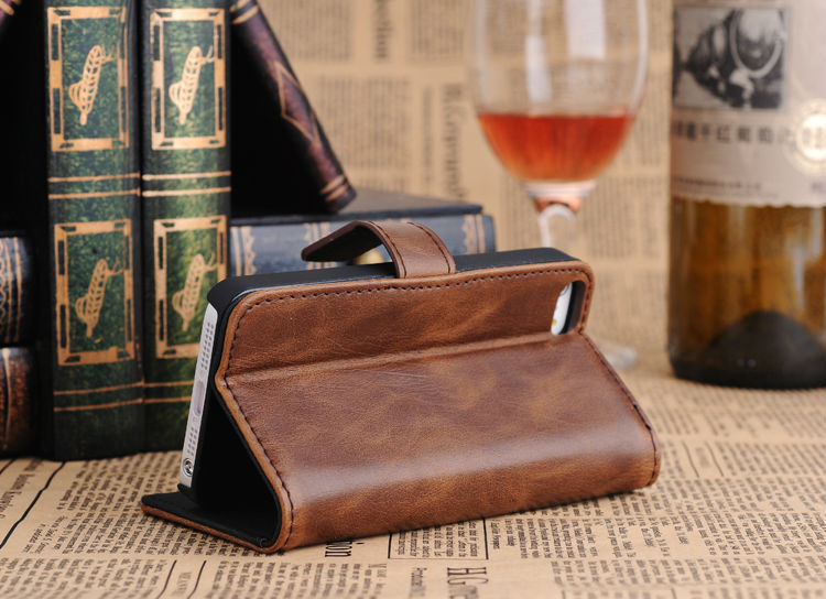 Retro Credit Card Pu Flip Leather Case for iPhone 5 5s