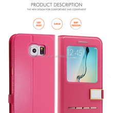 For samsung galaxy s6 edge Tpu back ultra thin leather case With Car Holder