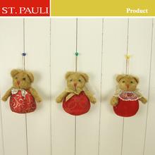 4 inch stuffed brown plush mini teddy bear key chain
