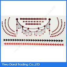 Circle and Triangle Choker Body Art Red and Black Metal Water Transfer Temporary Tattoo Stencils