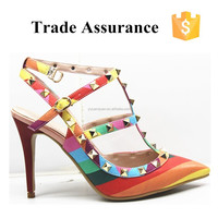 Black and Orange Chunky High Heel for Women and Girl/ Fashionable Sandals