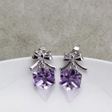 Ouxi en forma de mariposa violeta 925 de plata y cristal de joyería de plata barata venta al por mayor de china Y20016