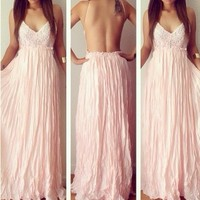 мед moda новые летние длинные платья без рукавов спинки розовое макси-платье lq9344