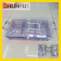 factory price 6 pcs in 1 set with handle with cover crystal plastic serving tray