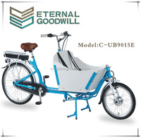 2015 hot sale road adult tricycle two wheel Electric Cargo Bike/bakfiets model UB9015E Nexus 7 speeds