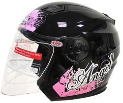 Motorcycle helmet 3/4 open face with sun visor
