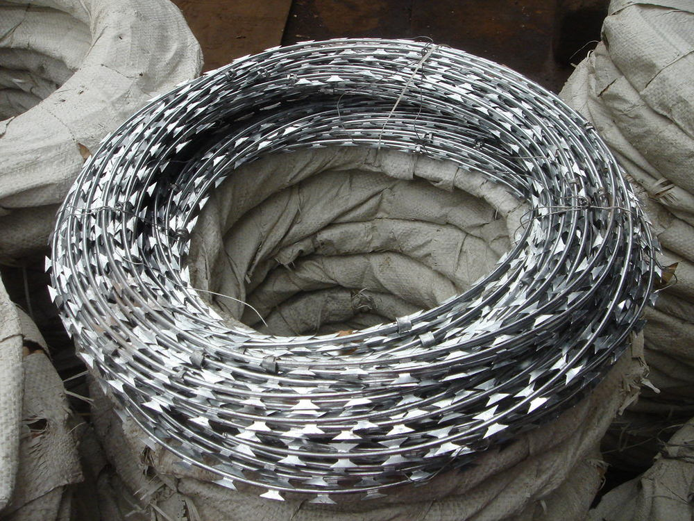 Zhongning Razor Barbed Blade Concertina Wire Military Use - Buy ...