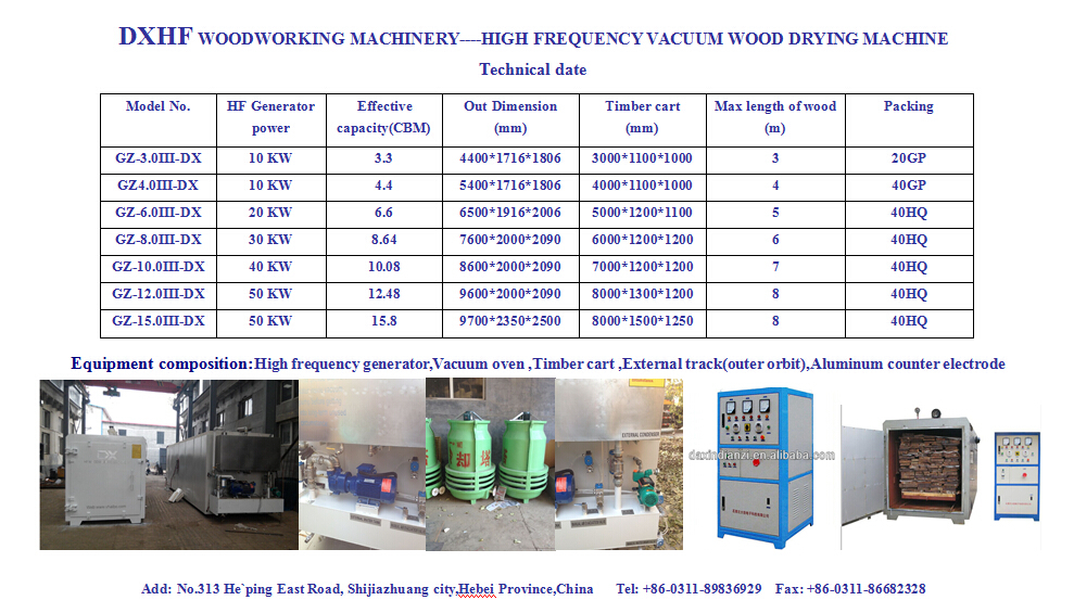 High frequency dx 3-20cbm wood kiln dryer sale /vacuum equipment for wood drying