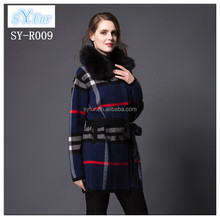 fashion long style ladies 100% wool coat with mink fur collar girls long cashmere coat with waistband winter coat