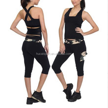 Wholesale Nylon Spandex Dry Fit yoga wear yoga pants sexy sports wear workout cropped pants tank tops for girls