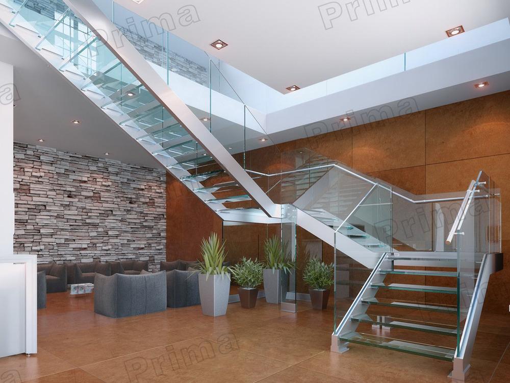 interior casa duplex acero voladizo minimalista