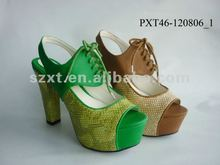 Fashion shoes 2012 3.2 cm platform high heel sandals sexy scale PU
