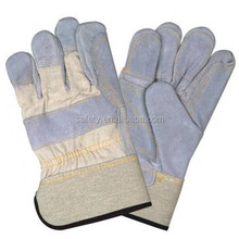 Rubber Cuff Comfortable Machinist Safety Gloves Cow Split Double Palm Cotton Back Working Gloves