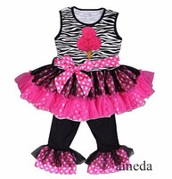 Rosettes Ice Cream Zebra Hot Pink Polka Dots Ruffled Top with Pants and Sash Outfit
