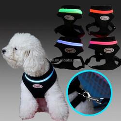 Flashing Led Pet Harness LED dog mesh vest harness 4 colors 5sizes