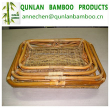 Natural color bamboo folding apple basket with 4 tier