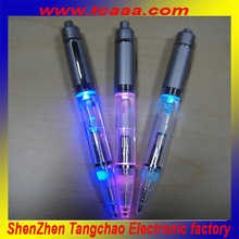 china made promotional led light ballpoint pen ,plastic pen with led light
