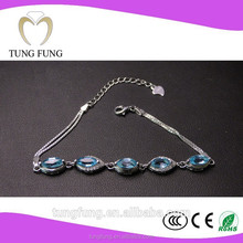 Factory directly selling 925 silver natural topaz woman accessories bead heart charm bracelet